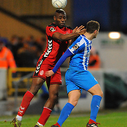 TELFORD COPYRIGHT MIKE SHERIDAN 22/12/2018 - Theo Streete of AFC Telford battles for the ball during the Vanarama Conference North fixture between Chester FC and AFC Telford United at the Swansway Deva Stadium, Chester.