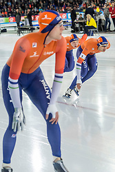 10-12-2016 NED: ISU World Cup Speed Skating, Heerenveen<br /> Team sprint Nederland Ronald Mulder,  Kay Verbij,  Pim Schipper