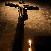 A crucifx inside St. Waudru collegiate cathedral in Mons