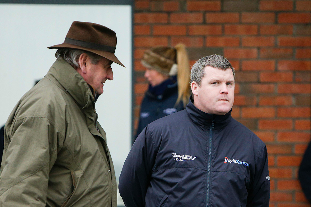 Navan Races, Saturday 27th February 2016.<br /> Noel Meade and Gordon Elliott pictured at Navan<br /> Photo: David Mullen /www.cyberimages.net / 2016