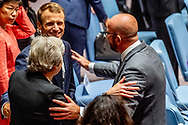 France President Macron the United Nations Security Council meeting on the sidelines of the General Debate of the General Assembly of the United Nations at United Nations Headquarters in New York, New York, USA, 26 September 2018. The General Debate of the 73rd session began on 25 September 2018.<br /> 26 Sep 2018