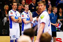 20150426 NED: Eredivisie Landstede Volleybal - Abiant Lycurgus, Zwolle<br />Dewi Verseput (8) of Abiant Lycurgus, Chris Voth (9) of Abiant Lycurgus<br />©2015-FotoHoogendoorn.nl / Pim Waslander