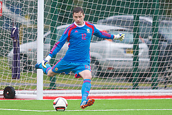 YSTRAD MYNACH, WALES - Thursday, February 19, 2015: Wales' goalkeeper Rhys Williams in action against Czech Republic during a friendly match at the Centre of Sporting Excellence. (Pic by Carl Robertson/Propaganda)