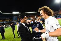 Joie PSG Champion - Zoumana CAMARA / David LUIZ / Nasser AL KHELAIFI - 16.05.2015 - Montpellier / Paris Saint Germain - 37eme journée de Ligue 1<br />Photo : Alexandre Dimou / Icon Sport