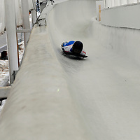 27 February 2007:  Svetlana Trunova of Russia slides through curve 13 in the 4th run at the Women's Skeleton World Championships competition on February 27 at the Olympic Sports Complex in Lake Placid, NY.
