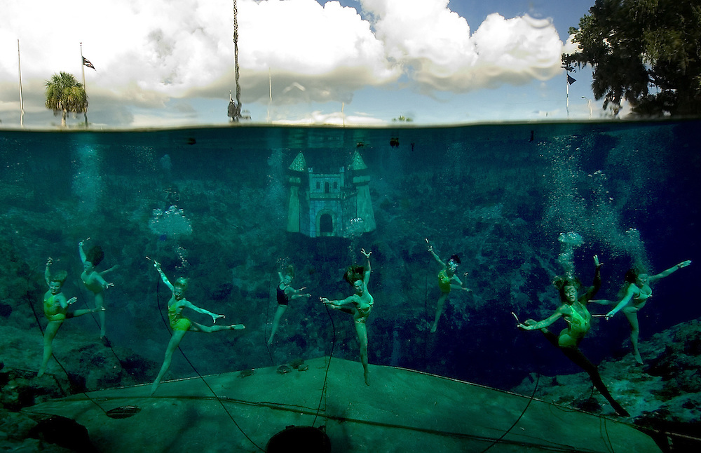 A group of current and former mermaids rehearse their program Wednesday, July 25, 2007 at Weeki Wachee Springs. The group performed as part of 60th anniversary of Weeki Wachee mermaids.
