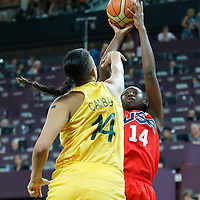 09 August 2012: USA Tina Charles takes a jumpshot over Australia Elizabeth Cambage during 86-73 Team USA victory over Team Australia, during the women's basketball quarter-finals, at the 02 Arena, in London, Great Britain.