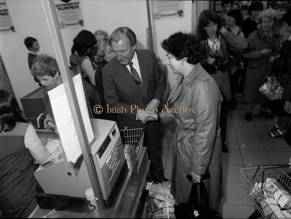 15/05/1982<br /> 05/15/1982<br /> 15 May 1982<br /> An Taoiseach, Mr Charles Haughey, canvasing with Fianna Fail bye-election candidate Eileen Lemass in Dublin West.