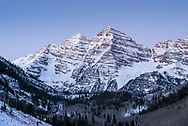 The Maroon Bells before dawn in late October in Aspen, Colorado.
