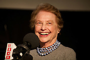 New York, NY - April 11, 2015: Restaurant critic and author, Mimi Sheraton interviewed at the Food Book Fair by podcast host, Dan Pashman at the Wythe Hotel in Williamsburg. <br /> <br /> CREDIT: Clay Williams for Food Book Fair.<br /> <br /> &copy; Clay Williams / claywilliamsphoto.com