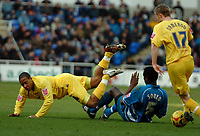 Photo: Ed Godden.<br />Reading v Preston North End. Coca Cola Championship. 25/02/2006. Ibrahima Sonko (R) brings down Preston's, Matthew Hill.