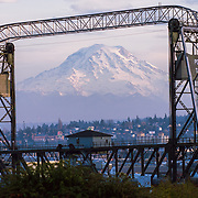 Mount Rainier framed by the Murray Morgan Bridge - Tacoma, WA