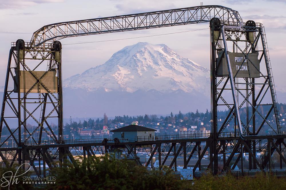 Mount Rainier framed by the Murray Morgan Bridge - Tacoma, WA