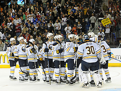 08.10.2011, O2 World, Berlin, Linz, GER, NHL, Buffalo Sabres vs LA Kings, im Bild the Buffalo Sabres celebrates there victory, during the Compuware NHL Premiere, O2 World Berlin, Berlin, Germany, 2011-10-08, EXPA Pictures © 2011, PhotoCredit: EXPA/ Reinhard Eisenbauer
