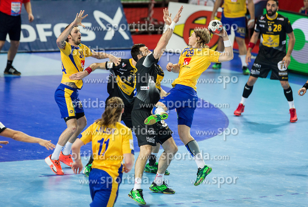 Andreas Cederholm of Sweden during handball match between National teams of Spain and Sweden on Day 6 in Preliminary Round of Men's EHF EURO 2016, on January 20, 2016 in Centennial Hall, Wroclaw, Poland. Photo by Vid Ponikvar / Sportida