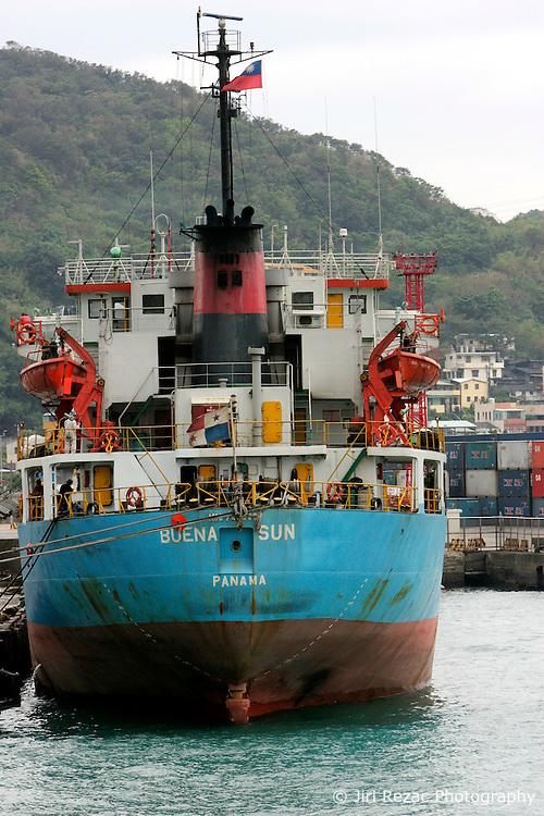 TAIWAN KEELUNG 3NOV07 - Freight vessel moored at Keelung port, northeast Taiwan...jre/Photo by Jiri Rezac..© Jiri Rezac 2007..Contact: +44 (0) 7050 110 417.Mobile:  +44 (0) 7801 337 683.Office:  +44 (0) 20 8968 9635..Email:   jiri@jirirezac.com.Web:    www.jirirezac.com..© All images Jiri Rezac 2007 - All rights reserved.