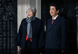 © Licensed to London News Pictures. 10/01/2019. London, UK. British Prime Minister Theresa May meets Japanese Prime Minister Shinzo Abe in Downing Street for a meeting. Photo credit : Tom Nicholson/LNP