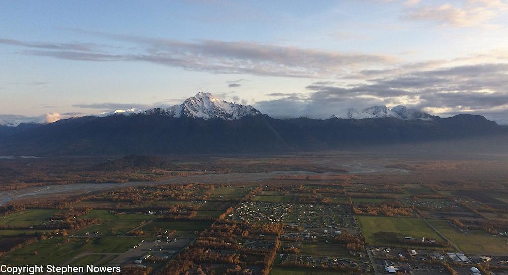 Aerial photograph of Palmer, Alaska looking south towards Pioneer Peak.