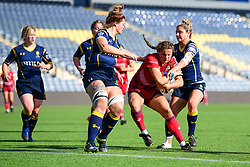 Lucy Attwood of Bristol Ladies battles to get over the try line - Mandatory by-line: Craig Thomas/JMP - 23/09/2017 - RUGBY - Sixways Stadium - Worcester, England - Worcester Valkyries v Bristol Ladies - Tyrrells Premier 15s