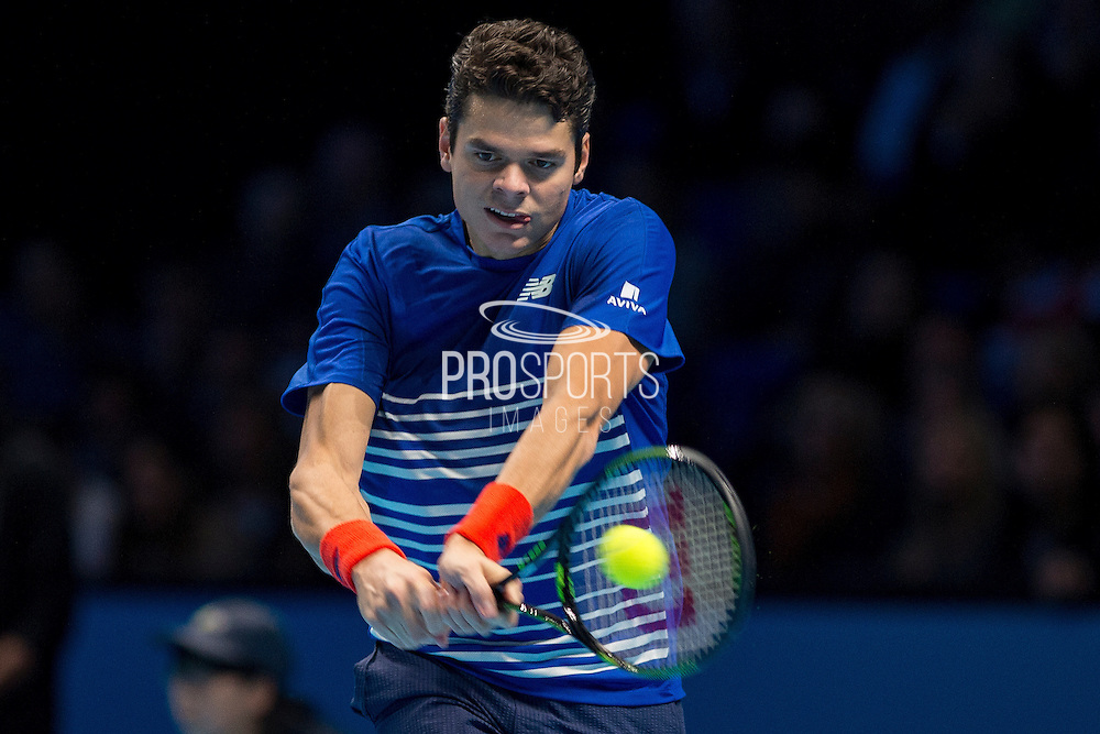 Milos Raonic  of Canada during the semi-final and day seven of the Barclays ATP World Tour Finals at the O2 Arena, London, United Kingdom on 19 November 2016. Photo by Martin Cole.