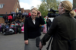 © Licensed to London News Pictures. 30/04/2015. <br /> LONDON, UK. Green Party leader Natalie Bennett visits Ridley Road Market in Hackney, London. On her visit she is interviewed by the media, Thursday 30 April 2015. Photo credit : Hannah McKay/LNP