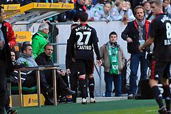 15.10.2011,  BorussiaPark, Mönchengladbach, GER, 1.FBL, Borussia Mönchengladbach vs Bayer 04 Leverkusen, im Bild.Gonzalo Castro (Leverkusen #27) muss nach seiner roten Karte vom Platz..// during the 1.FBL, Borussia Mönchengladbach vs Bayer 04 Leverkusen on 2011/10/13, BorussiaPark, Mönchengladbach, Germany. EXPA Pictures © 2011, PhotoCredit: EXPA/ nph/  Mueller *** Local Caption ***       ****** out of GER / CRO  / BEL ******
