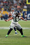Seattle Seahawks center Joey Hunt (53) pass blocks during the 2017 NFL week 1 preseason football game against the against the Los Angeles Chargers, Sunday, Aug. 13, 2017 in Carson, Calif. The Seahawks won the game 48-17. (©Paul Anthony Spinelli)
