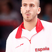 15 July 2012: Sergio Rodriguez of Team Spain warms up prior to a pre-Olympic exhibition game won 75-70 by Spain over France, at the Palais Omnisports de Paris Bercy, in Paris, France.