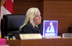 Judge Kim Theresa Mollica listens as suspected school shooter Nikolas Cruz makes a video appearance in Broward County on Thursday, February 15, 2018. Cruz is facing 17 charges of premeditated murder in the mass shooting at Marjory Stoneman Douglas High School in Parkland, FL, USA. Photo by Susan Stocker/Sun Sentinel/TNS/ABACAPRESS.COM