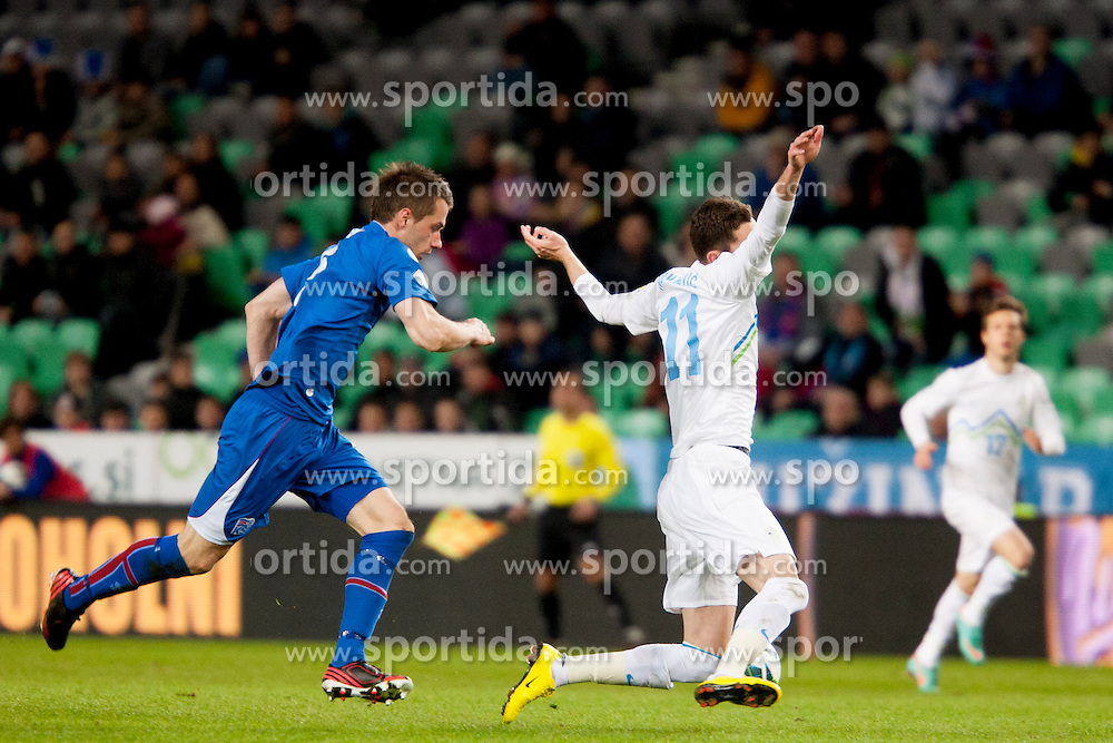 Milivoje Novakovic #11 of Slovenia during football match between National teams of Slovenia and Iceland in Group E of FIFA World Cup 2014 Qualification on October 12, 2012 in SRC Stozice, Ljubljana, Slovenia. (Photo By Urban Urbanc / Sportida)