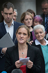 © Licensed to London News Pictures. 23/11/2016. London, UK. Family of murdered MP Jo Cox speak to reporters outside The Old Bailey after Thomas Mair was found guilty of her murder. Jo Cox's sister Kim Leadbetter (C) speaks as Jo's husband Brendan Cox and mother Jean Leadbeater look on. Defendant Thomas Mair chose not to give any evidence in his defence.  Mair shot and stabbed the 41-year-old Member of Parliament outside her constituency surgery in Birstall, near Leeds, Yorkshire on June 16 this year and has been given a whole life sentence. Photo credit: Peter Macdiarmid/LNP