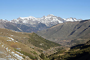 Mountains and valleys in the La Vall de Boi region near Taull, Lleida, Catalonia, Spain. This is a high mountainous area on the edge of the Pyrenees, with 9 early Romanesque churches forming a UNESCO World Heritage Site as the Catalan Romanesque Churches of the Vall de Boi. Picture by Manuel Cohen