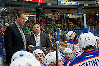 PENTICTON, CANADA - SEPTEMBER 16: Coaches of the Edmonton Oilers stand on the bench against the Vancouver Canucks on September 16, 2016 at the South Okanagan Event Centre in Penticton, British Columbia, Canada.  (Photo by Marissa Baecker/Shoot the Breeze)  *** Local Caption ***