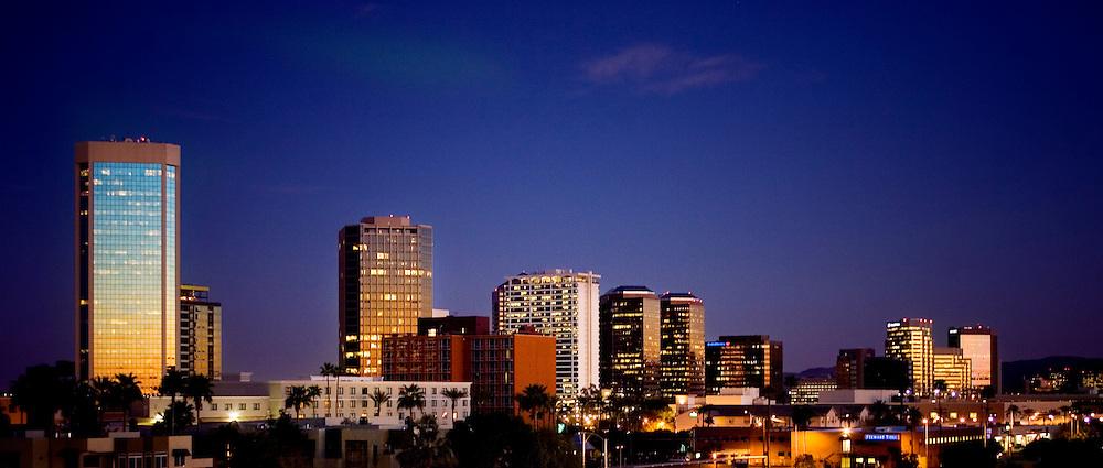 Skyline for downtown Phoenix, Arizona shot at dusk. .