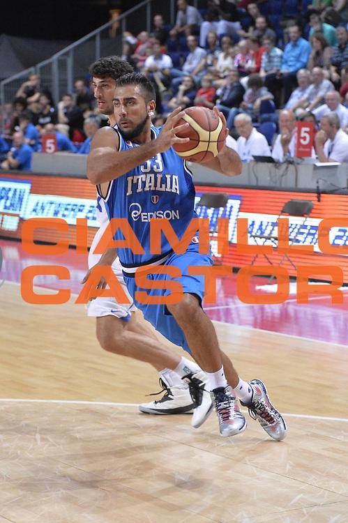 DESCRIZIONE : Anversa European Basketball Tour Antwerp 2013 Italia Israele Italy Israel<br /> GIOCATORE : Pietro Aradori<br /> CATEGORIA : penetrazione<br /> SQUADRA : Nazionale Italia Maschile Uomini<br /> EVENTO : European Basketball Tour Antwerp 2013 <br /> GARA : Italia Israele Italy Israel<br /> DATA : 18/08/2013<br /> SPORT : Pallacanestro<br /> AUTORE : Agenzia Ciamillo-Castoria/GiulioCiamillo<br /> Galleria : FIP Nazionali 2013<br /> Fotonotizia : Anversa European Basketball Tour Antwerp 2013 Italia Israele Italy Israel<br /> Predefinita :