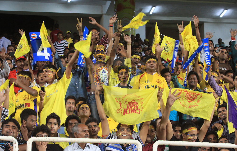 CSK fans during match 21 of the Pepsi Indian Premier League Season 2014 between the Chennai Superkings and the Kolkata Knight Riders  held at the JSCA International Cricket Stadium, Ranch, India on the 2nd May  2014<br /> <br /> Photo by Arjun Panwar / IPL / SPORTZPICS<br /> <br /> <br /> <br /> Image use subject to terms and conditions which can be found here:  http://sportzpics.photoshelter.com/gallery/Pepsi-IPL-Image-terms-and-conditions/G00004VW1IVJ.gB0/C0000TScjhBM6ikg