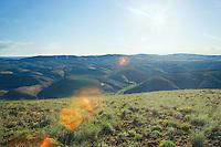 Sunrise from Umptanum Ridge overlooking high desert hills Yakima River Canyon between Yakima and Ellensburg Eastern Washington USA