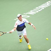KEI NISHIKORI of Japan plays against Leonardoa Mayer of Argentina at Day 4 of the Citi Open at the Rock Creek Tennis Center in Washington, D.C. Nishikori won in straight sets.