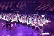 National Health Service (NHS) depicted during one of the scenes of the Opening Ceremony of the London 2012 Olympic Games. The Ceremony was directed by Danny Boyle and performed by 7500 volunteers and professional artists.