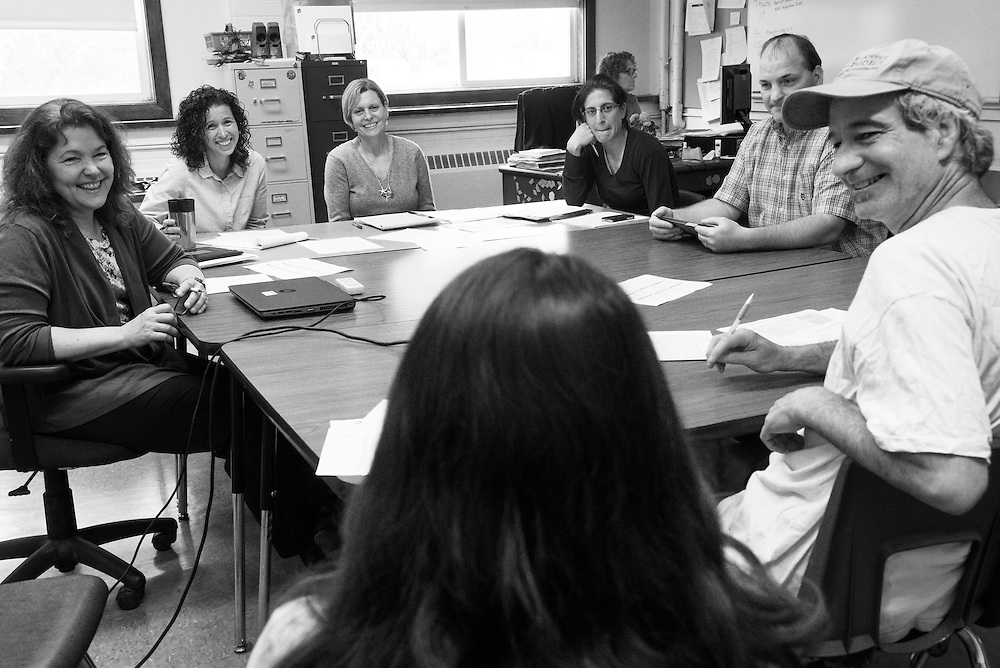 Teachers, special educators and administrators meet with Mackenzie Dakin, center, and her parents Patrick, right, and Sara Dakin, not pictured, at South Royalton High School to propose a plan for Dakin's senior year in South Royalton, Vt. Friday, May 08, 2015. Dakin, who has a form of ADHD, needs to fulfill one English credit in her senior year. She will also spend four half-days each week learning stable management and riding at a horse farm through the Community Based Learning program. (Valley News - James M. Patterson)<br />