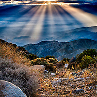 HDR image of a sunset in Southern Californa's National Park, Joshua Tree.