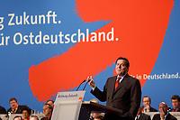 """10 MAR 2002, MAGDEBURG/GERMANY:<br /> Gerhard Schroeder, SPD, Bundeskanzler, waehrend seiner Rede, gemeinsamer Parteitag der ostdeutschen SPD Landesverbaende unter dem Motto:""""Richtung Zukunft. Politik fuer Ostdeutschland."""", Hotel Maritim<br /> IMAGE: 20020310-01-033<br /> KEYWORDS: Party congress, Gerhard Schröder"""