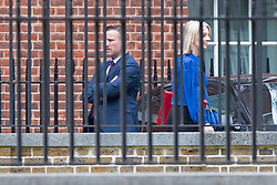 © Licensed to London News Pictures. 11/09/2019. London, UK. Secretary of State for International Trade Elizabeth Truss (r) departs the back of Downing Street.  Photo credit: George Cracknell Wright/LNP