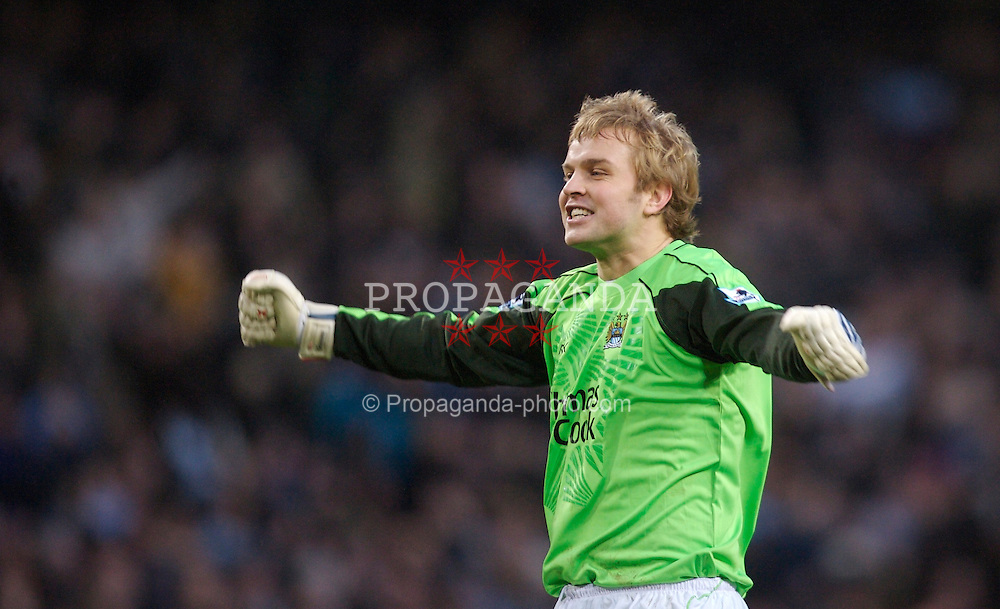 Manchester, England - Sunday, January 28, 2007: Manchester City's goalkeeper Nicky Weaver celebrates his side's 3-1 victory over Southampton during the FA Cup 5th Round match at the City of Manchester Stadium. (Pic by David Rawcliffe/Propaganda)