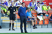 Blackpool Manager Gary Bowyer shouts instructions to his players during the EFL Sky Bet League 2 match between Blackpool and Exeter City at Bloomfield Road, Blackpool, England on 6 August 2016. Photo by Craig Galloway.