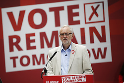 © Licensed to London News Pictures. 22/06/2016. London, UK. Labour Leader JEREMY CORBYN, Mayor of London SADIQ KHAN, First Minister of Wales CARWYN JONES and Scottish Labour leader KEZIA DUGDALE take part at a rally for a vote to remain in the European Union on Wednesday, 22 June 2016. Photo credit: Tolga Akmen/LNP
