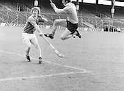 London jumps in to tackle Antrim in the goalmouth during the All-Ireland Senior B Hurling Championship Antrim v London at Croke Park on the 25th of June 1978. Antrim 1-16 London 3-7.