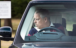 © Licensed to London News Pictures. 18/07/2020. Windsor, UK. Prince Andrew is seen driving at Windsor the day after Princess Beatrice married Edoardo Mapelli Mozzi in secret ceremony at Windsor Castle. Photo credit: Peter Macdiarmid/LNP