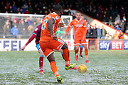 Shrewsbury Town midfielder Abu Ogogo (8) plays a pass  during the EFL Sky Bet League 1 match between Scunthorpe United and Shrewsbury Town at Glanford Park, Scunthorpe, England on 17 March 2018. Picture by Mick Atkins.