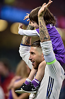 Sergio Ramos of Real Madrid celebrates the winning of the Champions League during the UEFA Champions League Final match between Real Madrid and Juventus at the National Stadium of Wales, Cardiff, Wales on 3 June 2017. Photo by Giuseppe Maffia.<br /> <br /> Giuseppe Maffia/UK Sports Pics Ltd/Alterphotos